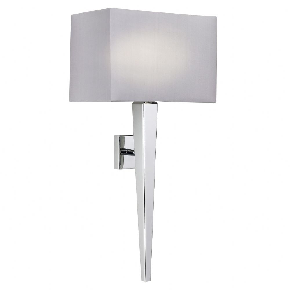 Chrome Wall Lamp With Faux Silk Shade (Double Insulated) BXMORETO-1WBCH-17 (Double Insulated)
